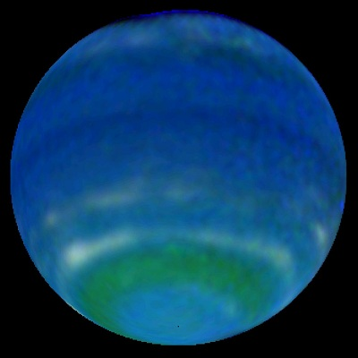 Neptune as imaged by the Hubble Space Telescope in 1998 (NASA, L. Sromovsky, P. Fry (credit - University of Wisconsin-Madison))