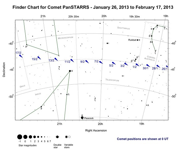 Finder Chart for Comet PanSTARRS from January 26, 2013 to February 17, 2013