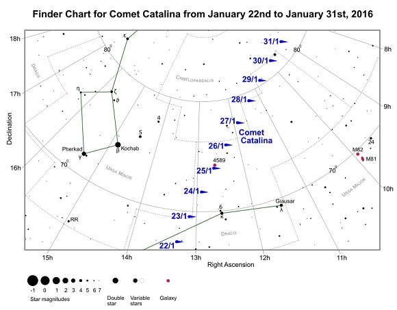 Comet Catalina (C/2013 US10) Finder Chart from January 22nd to January 31st, 2016 (credit - freestarcharts)