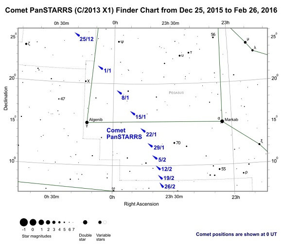 Comet PanSTARRS Finder Chart from December 25, 2015 to February 26, 2016 (credit - freestarcharts)