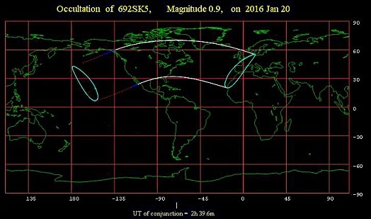 From all locations within the solid white lines is the Lunar occultation of Aldebaran visible at sometime during night of January 19-20, 2016 (credit - International Occultation Timing Organization)