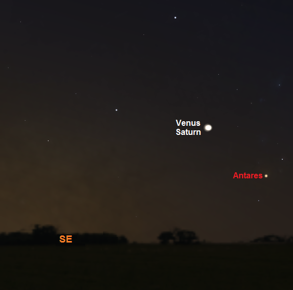 View towards the southeastern horizon one hour before sunrise on January 9th from mid Northern latitudes (credit - Stellarium)