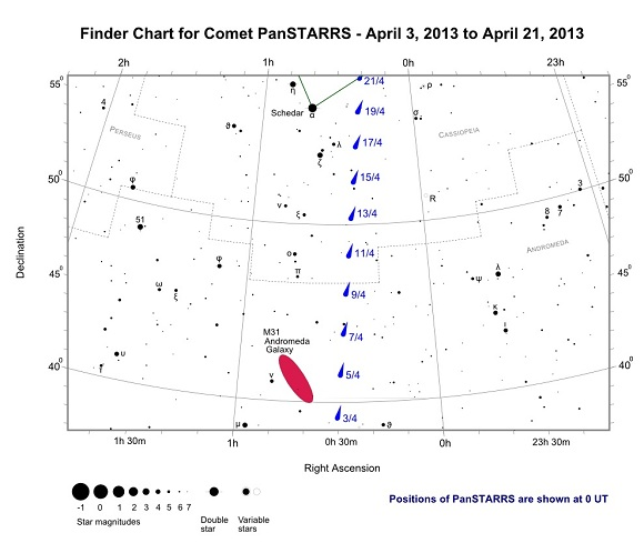 Finder Chart for Comet PanSTARRS - April 3, 2013 to April 21, 2013