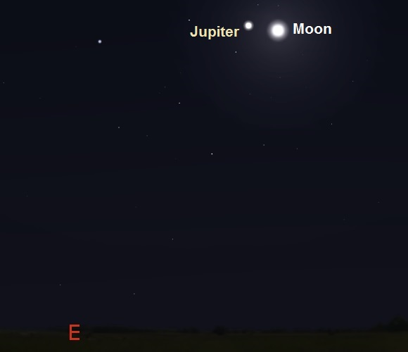Jupiter and the Moon as seen from New York, USA in early evening on March 21, 2016 (credit - freestarcharts)