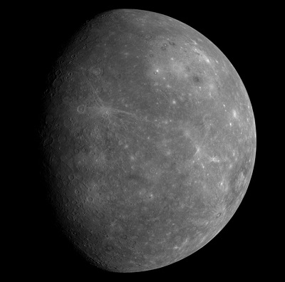 Mercury as seen by the MESSENGER space probe (credit:- freestarcharts)