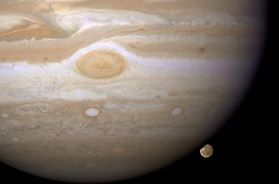 Jupiter and Ganymede as seen by Hubble Space Telescope on April 9, 2007 (credit:- NASA, ESA, and The Hubble Heritage Team (STScI/AURA))