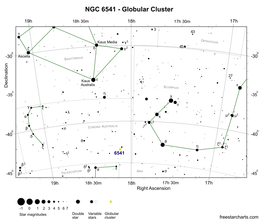 Finder Chart for NGC 6541 (credit:- freestarcharts)