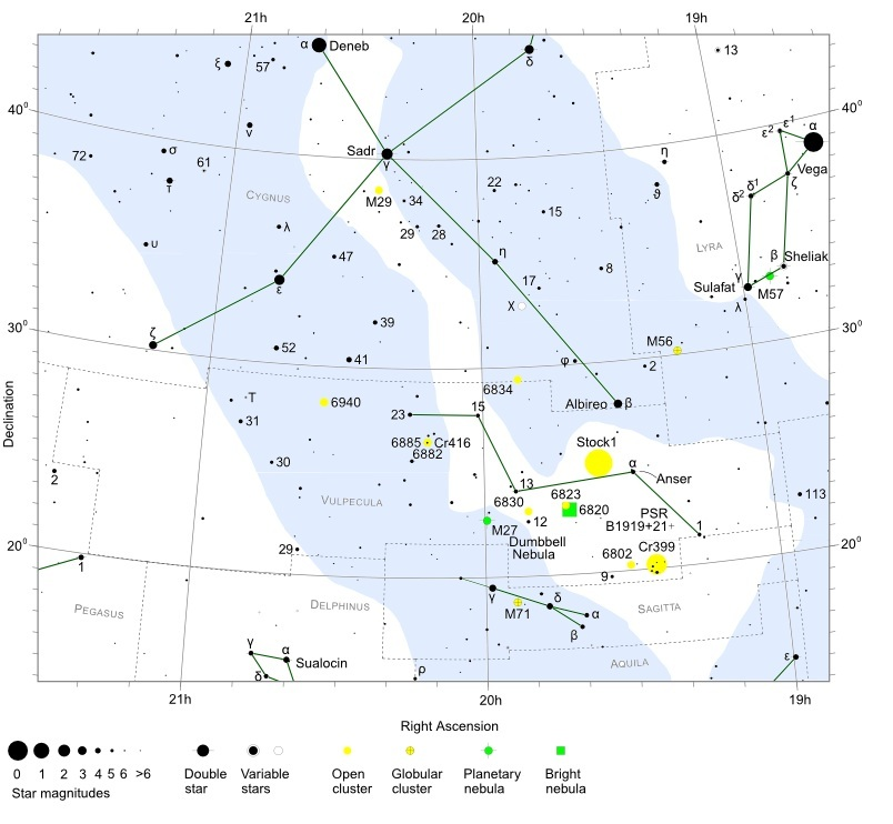 Vulpecula - Constellation Guide | freestarcharts com