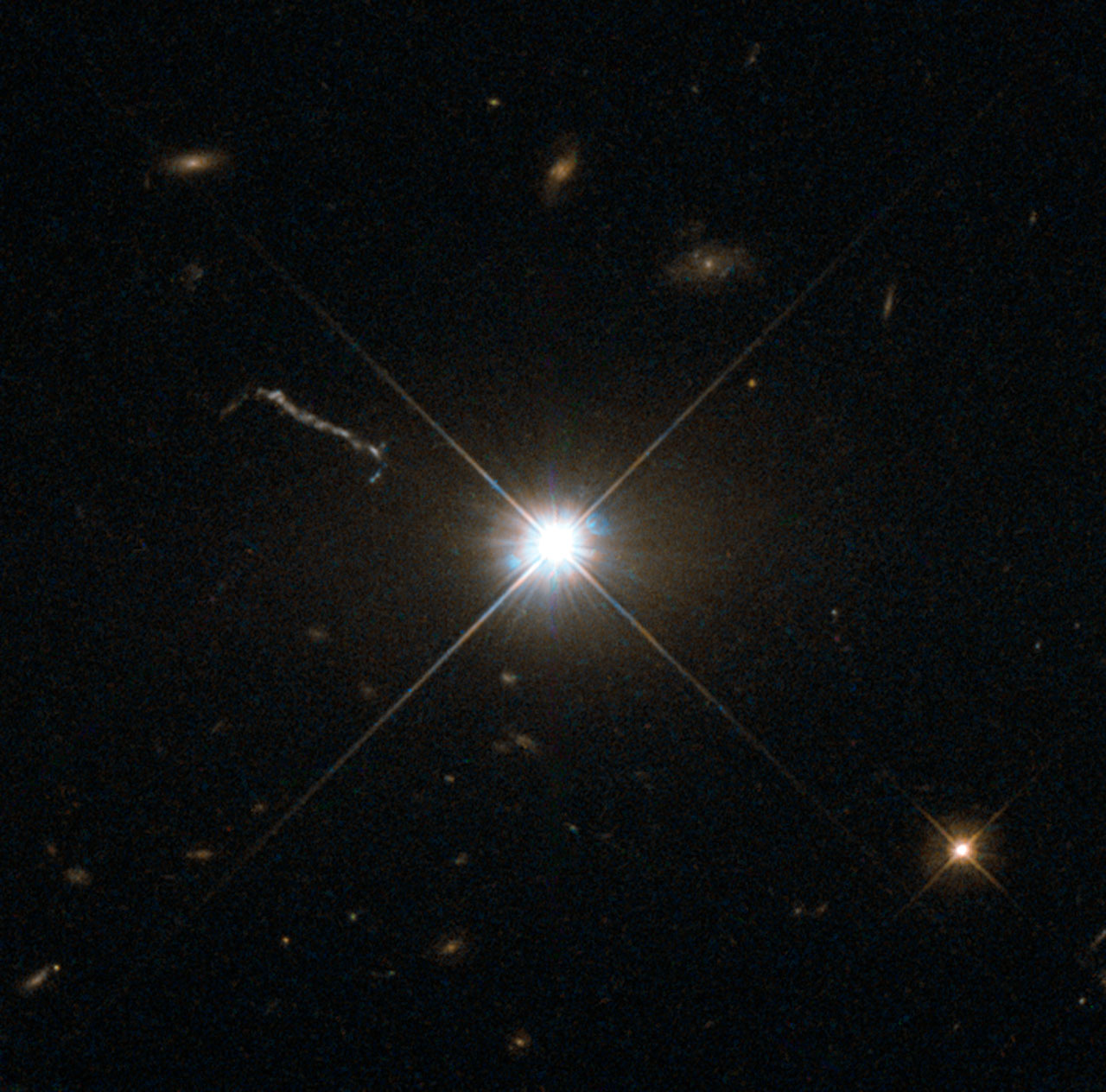 3C 273 is the brightest quasar. At magnitude +12.9 it's visible in medium size amateur scopes (credit:- ESA/Hubble/NASA)