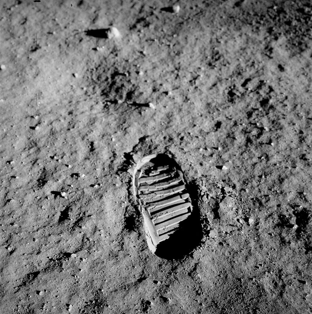 Buzz Aldrin's footprint in the lunar regolith (credit:- NASA)