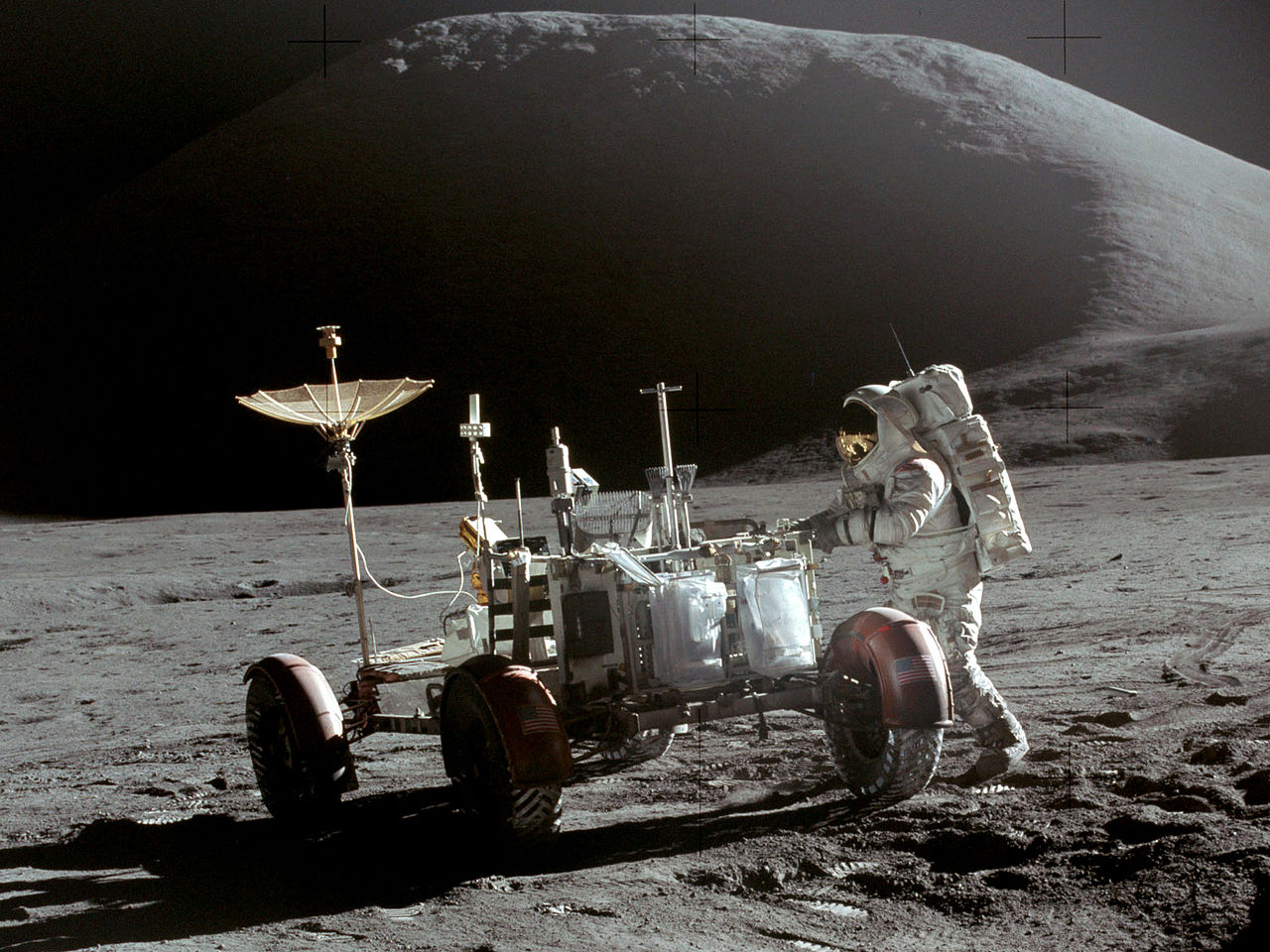 Astronaut Jim Irwin of Apollo 15 with the Apennines mountains in the background (credit:- NASA)