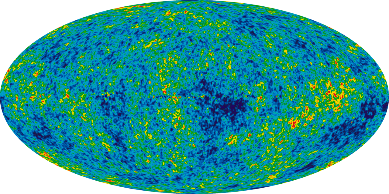 WMAP image of the background cosmic radiation (credit:- NASA / WMAP Science Team)