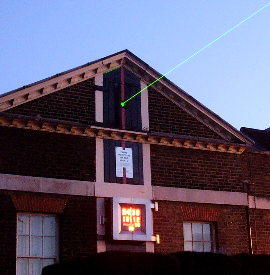 Royal Greenwich Observatory. The Laser marks the zero meridian line and is projected northward over London. (credit:- Mark Hamilton)