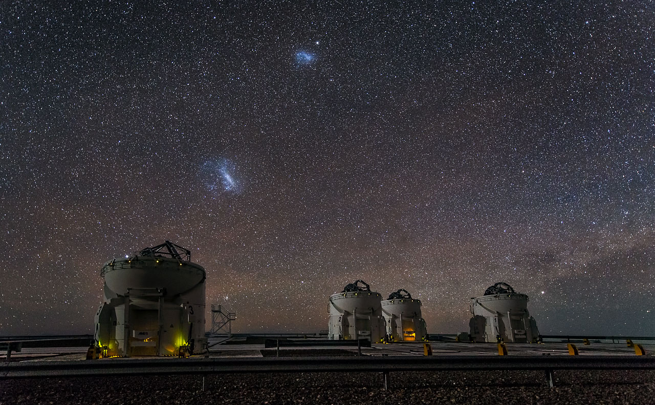 Large and Small Magellanic Clouds over ESO's Paranal Observatory (credit:- ESO)