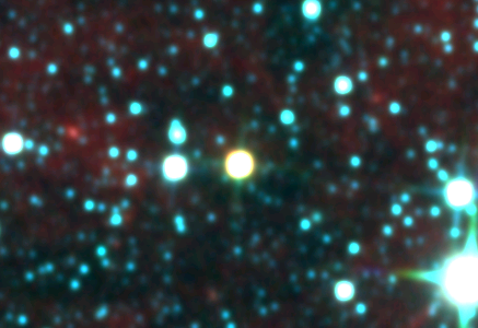 The Luhman 16 binary brown dwarf is the yellow disc at the centre. The binary system is not resolved in this image (credit:- WISE)