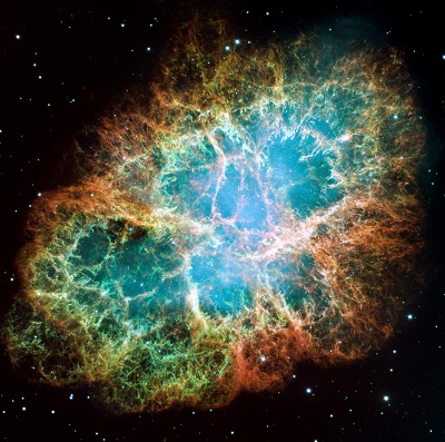 The Crab Nebula is the remnant of a supernova that exploded in 1054  (credit:- NASA, ESA, and The Hubble Heritage Team (STScI/AURA))
