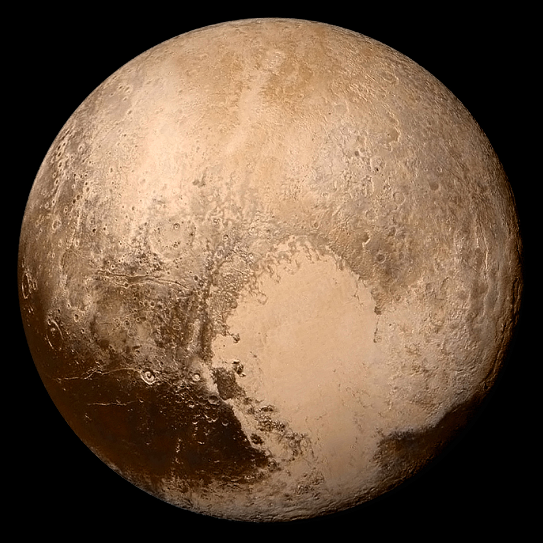 Pluto as imaged by the New Horizons space probe (credit:- NASA/Johns Hopkins University Applied Physics Laboratory/Southwest Research Institute)