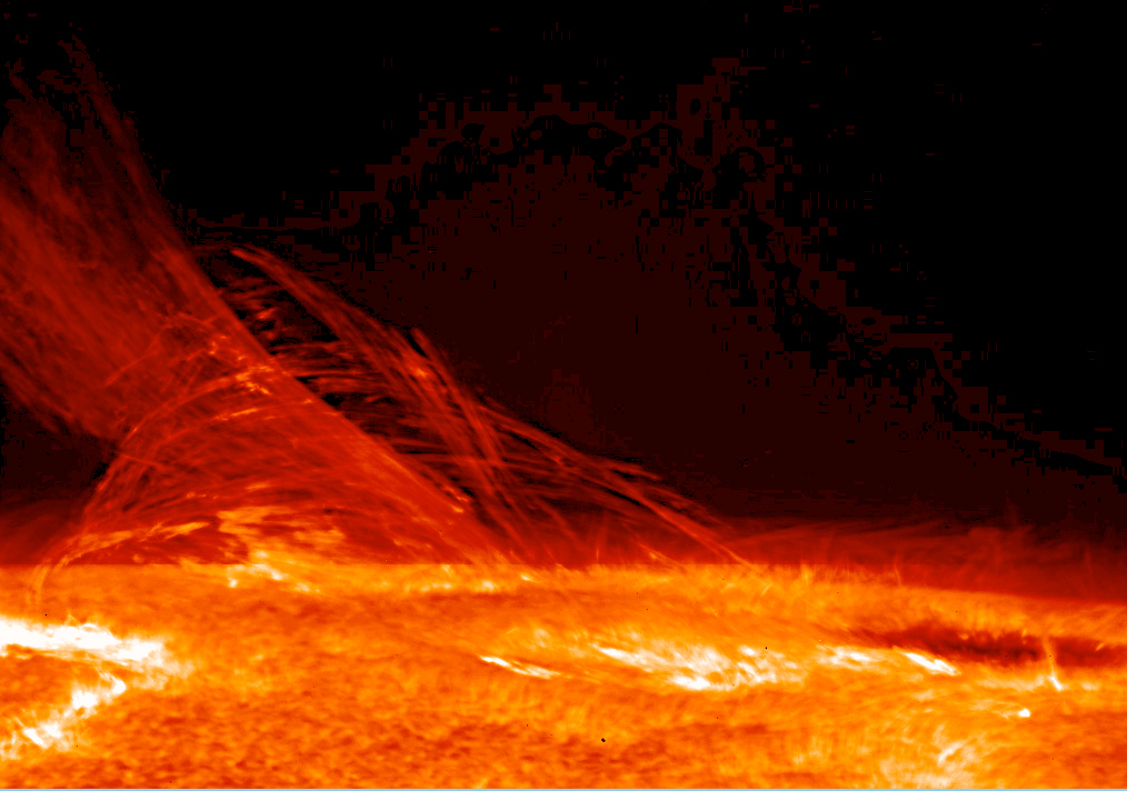 Solar flare as imaged by Hinode's Solar Optical Telescope on Jan. 12, 2007 (credit:- Hinode JAXA/NASA)