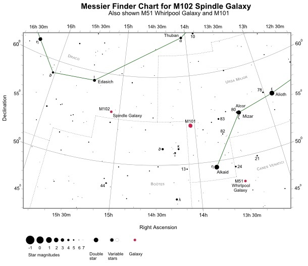 Finder Chart for M102 (also shown M51 and M101)