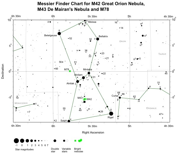 Finder Chart for M78 (also shown M42 and M43)