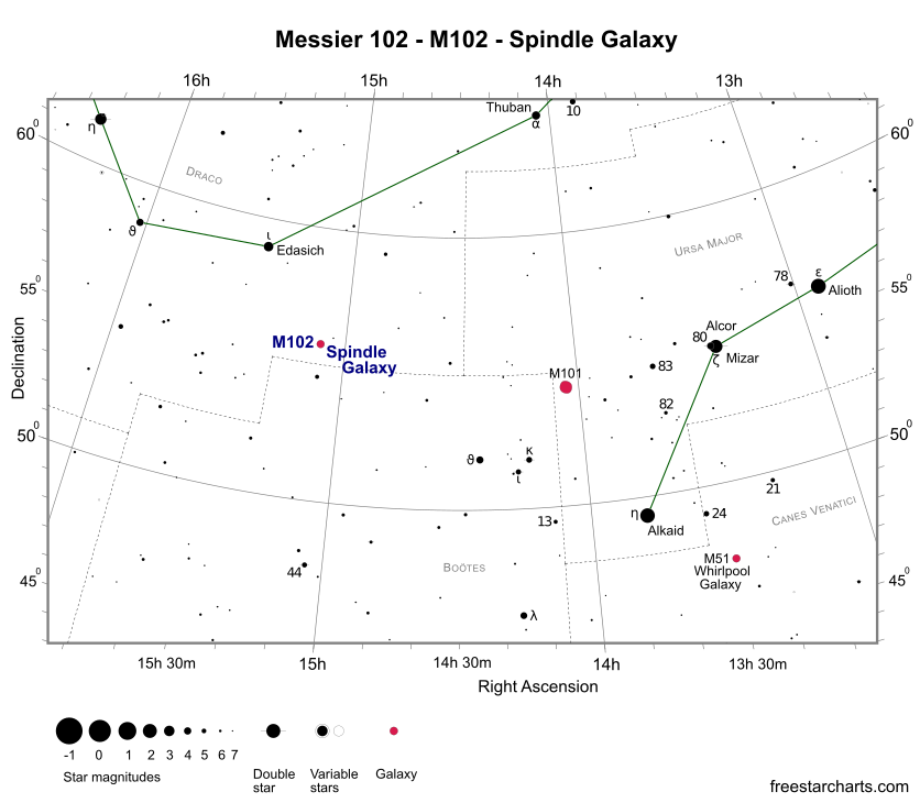 Finder Chart for M102 (credit:- freestarcharts)