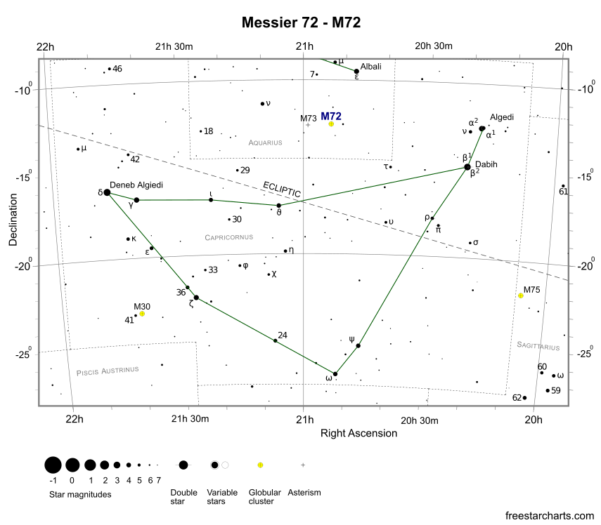 Finder Chart for M72 (credit:- freestarcharts)