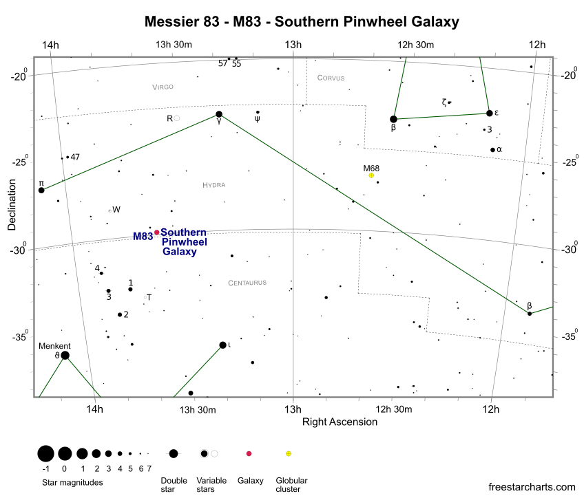 Finder Chart for M83 (credit:- freestarcharts)