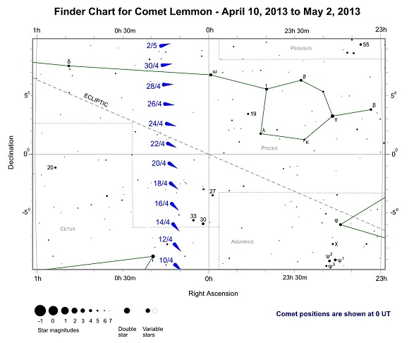 Finder Chart for Comet Lemmon from April 10 to May 2, 2013