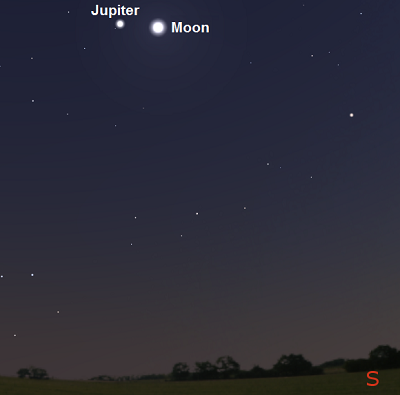 Moon and Jupiter 45 minutes after sunset from London, England on April 17, 2016 (credit:- stellarium)