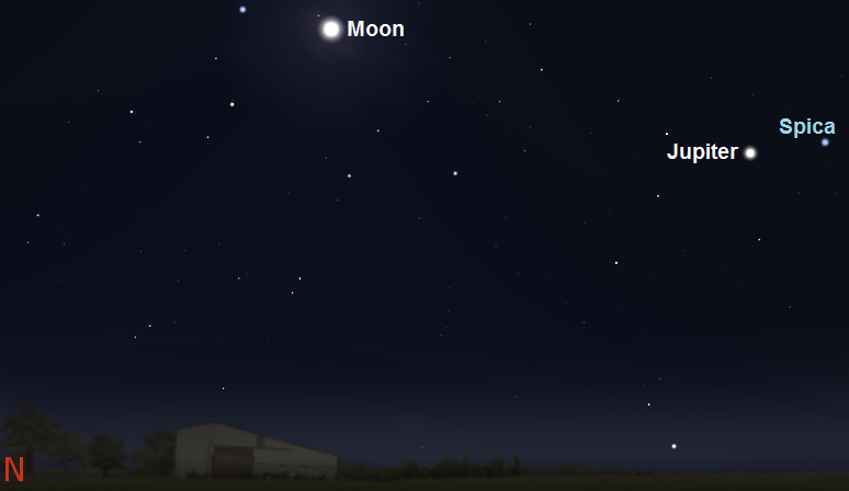 Jupiter, Spica and the Moon as seen during early evening on April 7th from mid-southern latitudes (credit:- stellarium/freestarcharts)