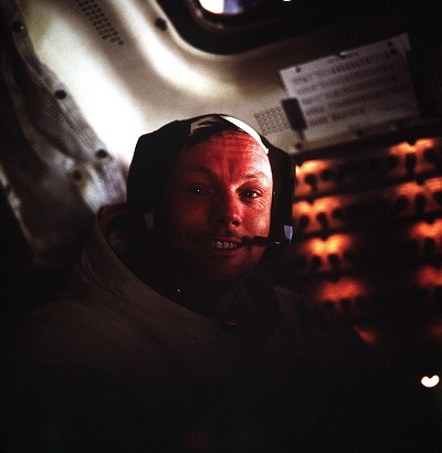 Neil Armstrong inside the Lunar Module (NASA)
