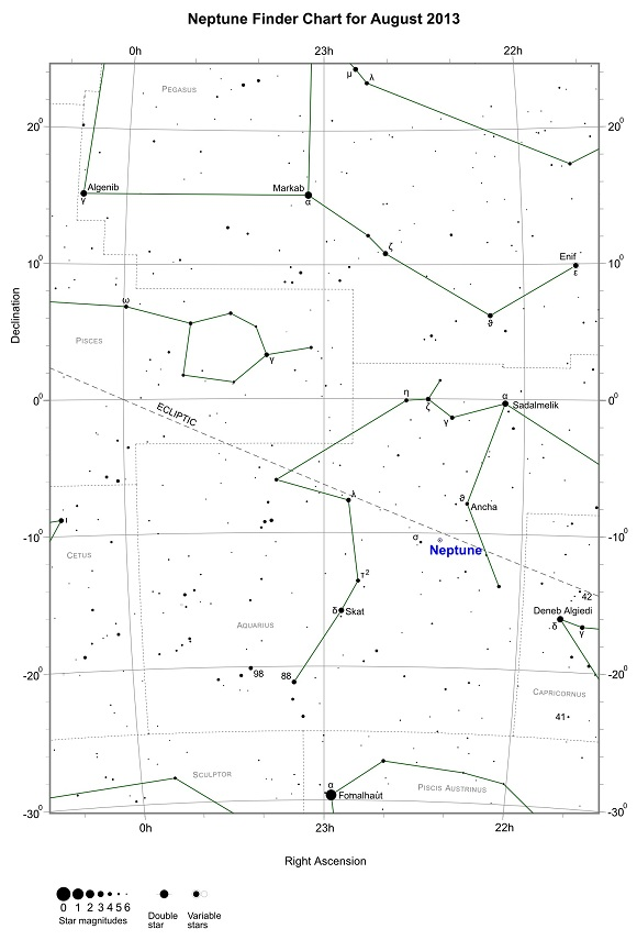 Neptune Finder Chart for August 2013