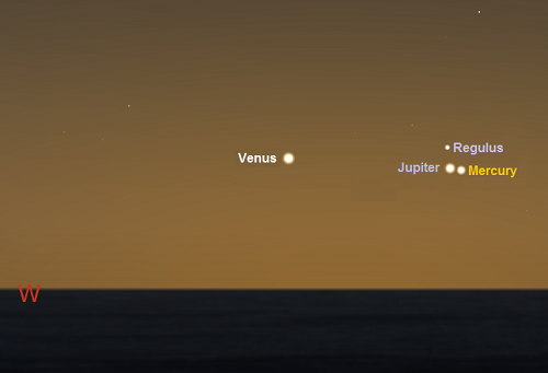 Mercury, Venus and Jupiter 45 mins after sunset on August 7th from Sydney, Australia (35S)