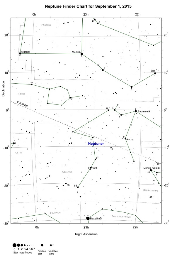 Neptune Opposition Finder Chart - September 1, 2015