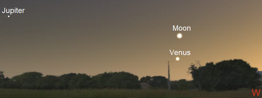 Moon, Venus and Jupiter in the evening sky from northern temperate locations just after sunset on August 14, 2018 (credit:- freestarcharts)