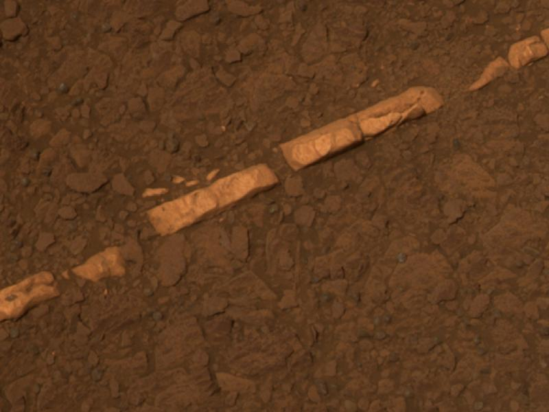 This color view of a mineral vein called 'Homestake' comes from the panoramic camera (Pancam) on NASA's Mars Exploration Rover Opportunity. The vein is about the width of a thumb and about 18 inches (45 centimeters) long. Opportunity examined it in November 2011 and found it to be rich in calcium and sulfur, possibly the calcium-sulfate mineral gypsum. (NASA/JPL-Caltech/Cornell/ASU)