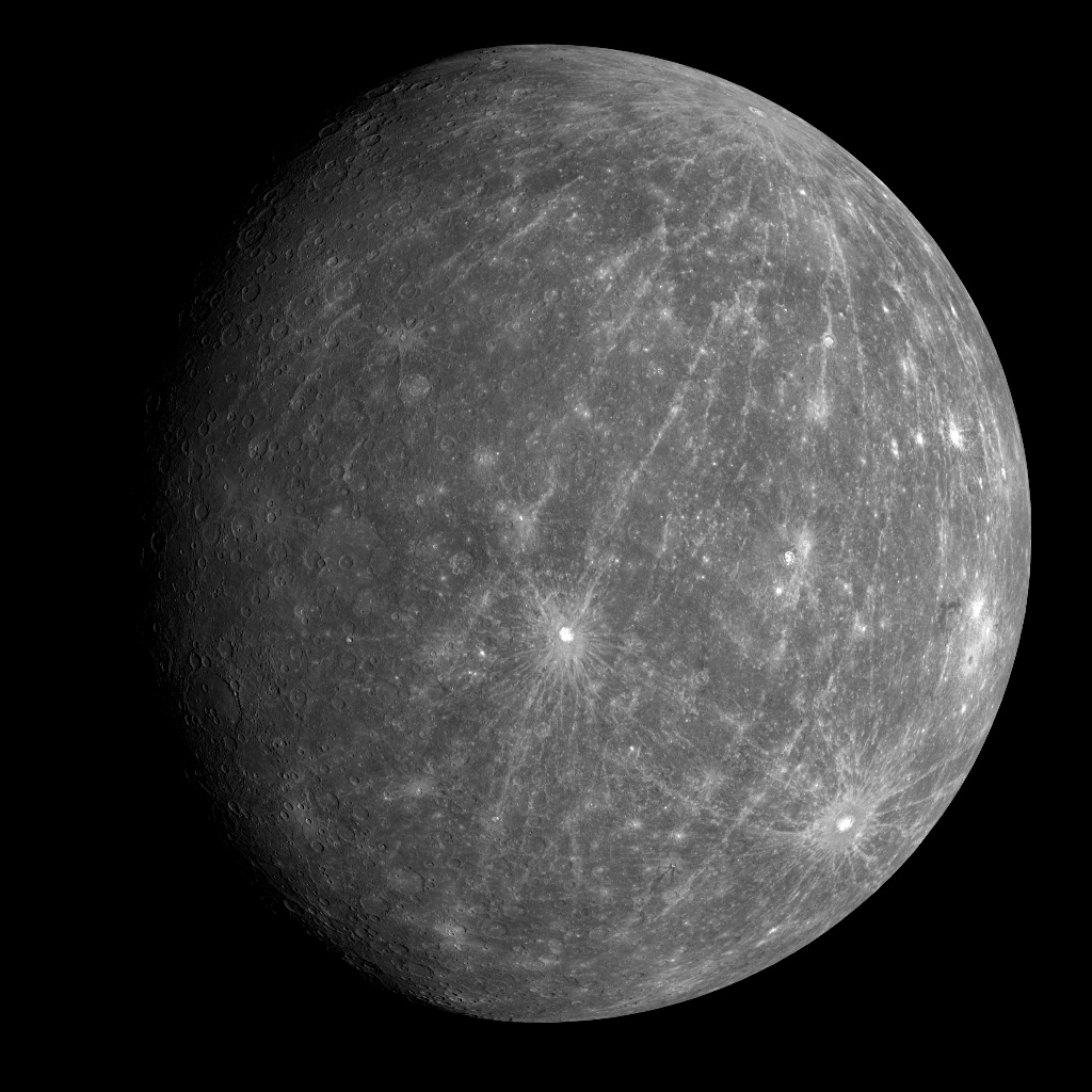 Mercury from the Messenger space probe (NASA/Johns Hopkins Applied Physics Laboratory/Carnegie Institution of Washington)