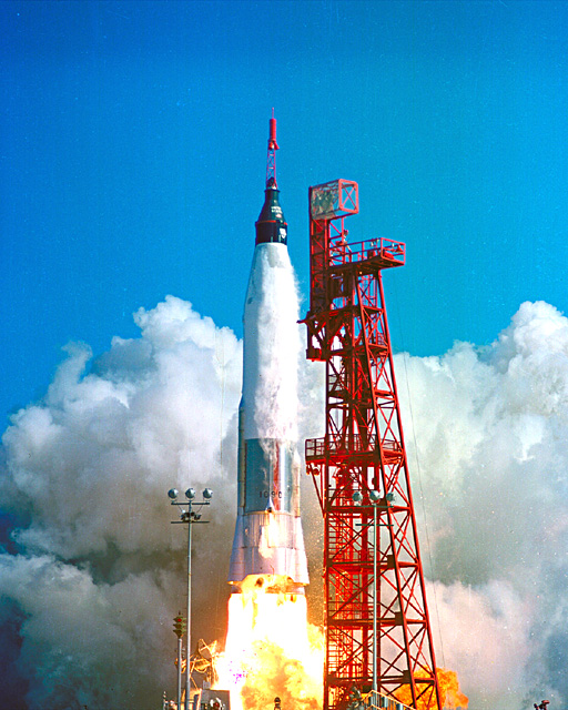 Launch of Friendship 7, the first American manned orbital space flight. Astronaut John Glenn aboard, the Mercury-Atlas rocket is launched from Pad 14. (NASA)