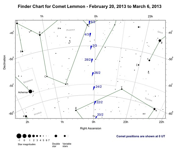 Finder Chart for Comet Lemmon from February 20, 2013 to March 6, 2013