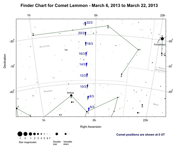Finder Chart for Comet Lemmon from March 6, 2013 to March 22, 2013