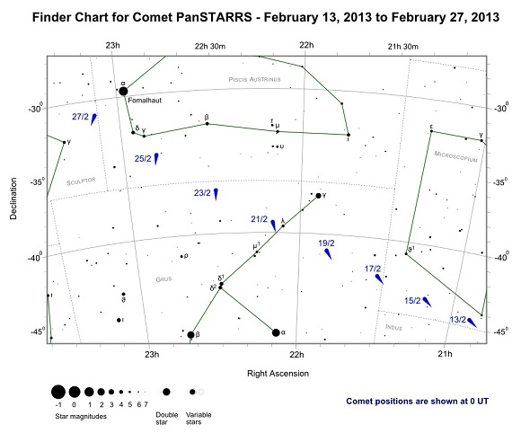 Finder Chart for Comet PanSTARRS from February 13, 2013 to February 27, 2013