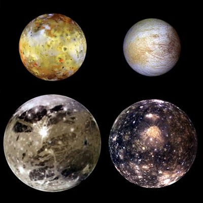Io, Europa, Ganymede and Callisto (NASA)