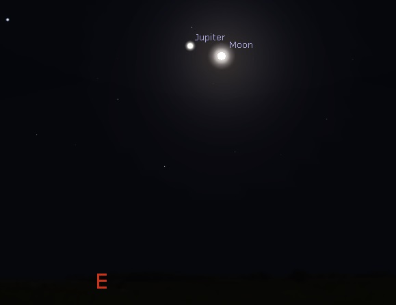 Jupiter and the Moon as seen from New York in early evening on February 23, 2016 (credit - freestarcharts)