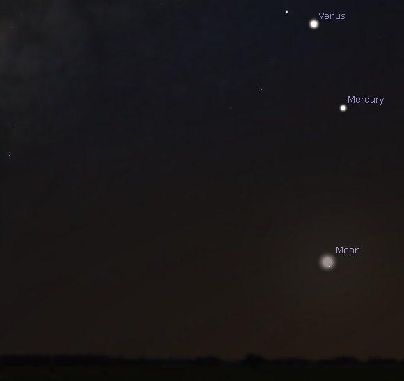 Mercury, Venus and Moon as seen from mid-southern latitudes before sunrise on February 7, 2016 (credit:- stellarium)