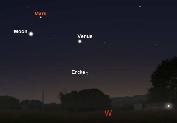 Position of Encke, one hour after sunset, on March 1, 2017 from mid-latitude northern locations (credit:- stellarium/freestarcharts)