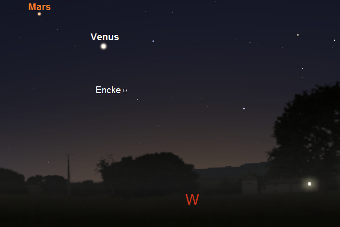 Position of Encke, one hour after sunset, on February 25, 2017 from mid-latitude northern locations (credit:- stellarium/freestarcharts)