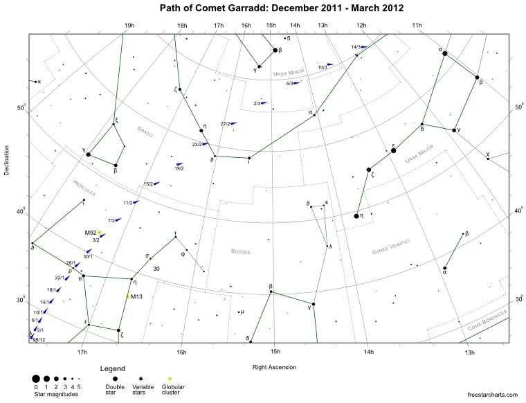 Path of Comet Garradd (C/2009 P1) - Dec 11 to Mar 12
