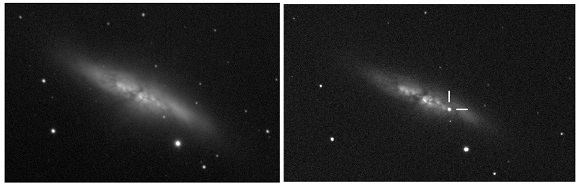 M82 before and after supernova SN 2014J was discovered (UCL/University of London Observatory/Steve Fossey/Ben Cooke/Guy Pollack/Matthew Wilde/Thomas Wright)