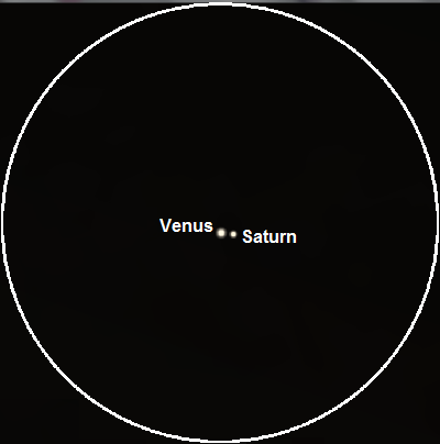 Venus and Saturn seen through binoculars on January 9th, 2016 (credit:- Stellarium)
