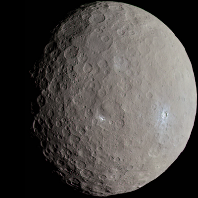 Ceres as imaged by the NASA Dawn spacecraft (credit:- NASA/JPL-Caltech/UCLA/MPS/DLR/IDA/Justin Cowart)